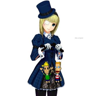 Фото Девочка в цилиндре с повязкой на глазу держит кукол-марионеток