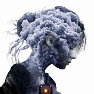Фото Двойная экспозиция - на силуэте девушки едущий паровоз с клубами дыма, французский художник Алексис