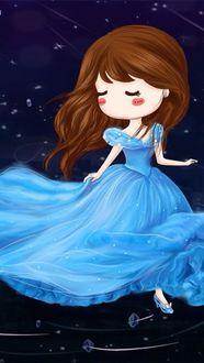 Фото Персонаж одноименной сказки Золушка в голубом платье, в хрустальных башмачках, среди кружащих вокруг нее драгоценных камней