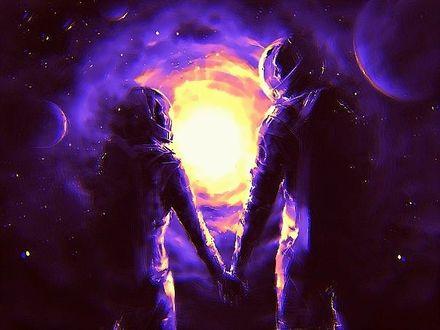 Фото Влюбленные мужчина и женщина в костюмах астронавтов взявшись за руки, идут навстречу инопланетному светилу