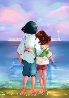 Фото Хаку / Haku и Тихиро Огино / Chihiro Ogino из аниме Унесенные Призраками / Spirited Away, стоят в обнимку у моря, by Mellodee
