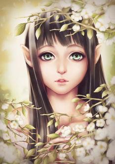 Фото Зеленоглазая эльфийка стоит возле цветущих веток дерева, by minipraw