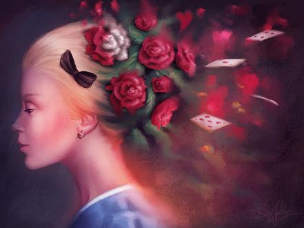 Фото Алиса с розами на голове и разлетающимися картами, by Sandramalie