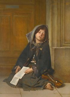Фото Спящая девочка в углу у стены в рваной одежде со смычком и скрипкой с оборванными струнами, Guillaume Charles Brun