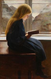 Фото Рыжеволосая девочка сидящая на столе у окна с видом на горный пейзажа читает книгу, by Johan Gudmundsen-Holmgreen