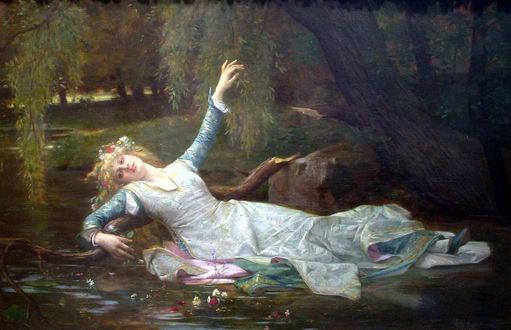 Фото Офелия / Ophelia с цветами на волосах лежит в водоеме на сломанной ветке дерева в цветах на воде, протянув руку к дереву, by Cabanel Alexandre 1883 год