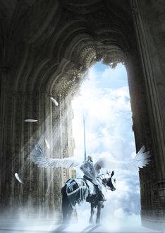 Фото Мужчина ангел страж врат небесных сидит на лошади, by Ligolai (Matias Rasmussen)