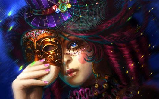 Фото Голубоглазая девушка в шляпке с украшениями в виде леденцов сеточки и блесток держит маску в руке, by Helen Rusovich