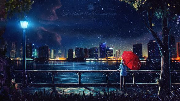 Фото Девушка с красным зонтом стоит на набережной, by GeneRazART