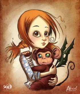 Фото Рыжеволосая девочка прижимает к себе обезьянку с крыльями, by Akriel