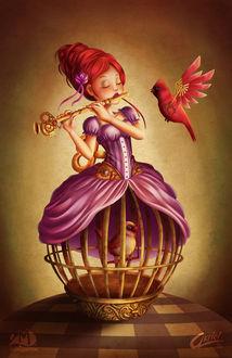 Фото Механическая девочка кукла с заводным ключом надета на клетку с птичкой, играя на флейте, by Akriel