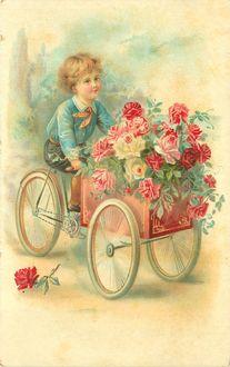 Фото Мальчик катит коляску, наполненную цветами