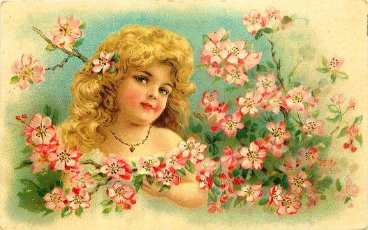 Фото Винтажная открытка с девочкой и цветами