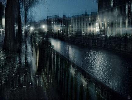 Фото Осениий дождливый вечер. Набережная Санкт-Петербурга. Фотограф Геннадий Блохин