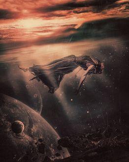 Фото Девушка парящая в космосе под облаками, Peter Brownz Braunschmid