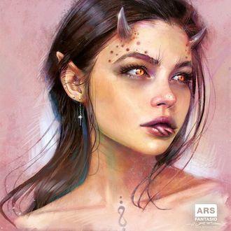 Фото Портрет фантастической девушки-эльфа с рогами, by Oliver Wetter