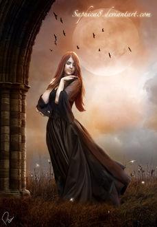 Фото Рыжеволосая девушка положив руки на плечи смотрит вниз на фоне луны и птиц, by Saphica8