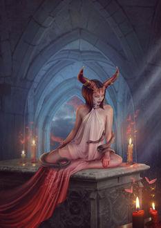 Фото Девушка с рогами, со змеей обвившей ее руку и тело, сидит на гробнице в окружении свечей, by Vasylina Holodilina