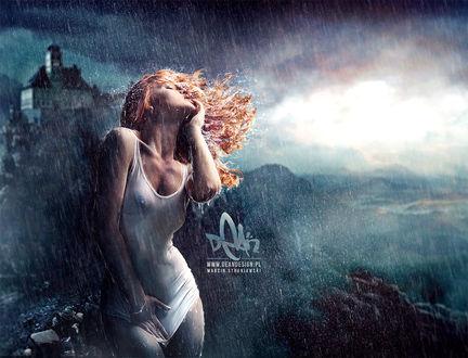 Девушка грустит под дождем фото