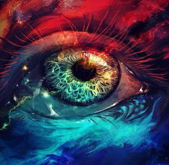 Фото Глаз с элементами космоса