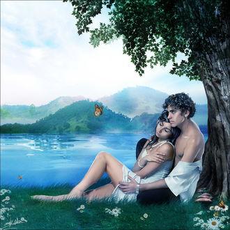 Фото Влюбленная пара сидят на траве у дерева на фоне горного пейзажа, by anaRasha