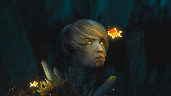 Фото Девушка с горящими глазами, с кристалами растущими из тела под водой смотрит на светящуюся рыбку, by Baka Arts