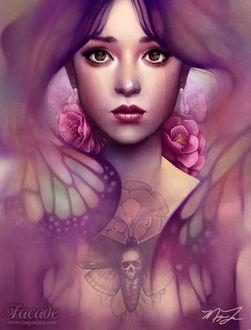Фото Плачущая девушка с цветами, с волосами в виде крыльев бабочки и с мотыльком на груди с черепом, by MeganLara