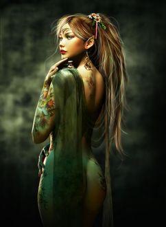 Фото Обнаженная красивая девушка с украшениями, с тату в виде цветов и бабочек, на плече с прозрачной тканью, by Alena Klementeva art