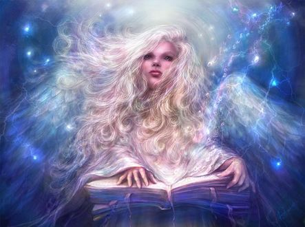 Фото Девушка белокрылый ангел с книгой, by Alena Klementeva art