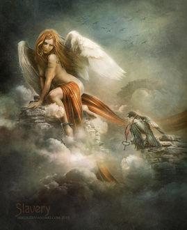 Фото Обнаженная рыжеволосая плачущая девушка ангел, прикованная к скале, смотрит на ворона c ключом на шее, by IrKos (Irina Kosulina)