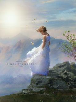 Фото Девочка в белом длинном платье, опустив голову вниз стоит на камне на краю обрыва, рядом с ней летают бабочки на фоне горного пейзажа, by Cindy Grudsten
