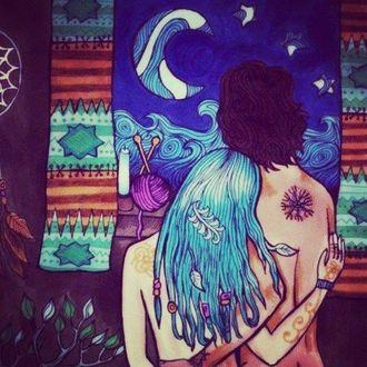 Фото Девушка с парнем любуются луной в окне