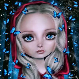 Фото Девочка в красном капюшоне с огромными голубыми глазами в окружении бабочек на фоне природы. Photo manipulation Margo Fly