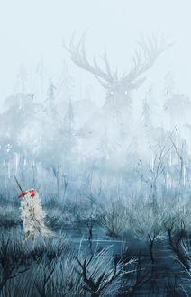 Фото Сан / San и Лесной Дух из аниме Принцесса Мононокэ / Princess Mononoke, by AnatoFinnstark