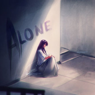 Фото Alone, девушка сидит у стены, by Axsens