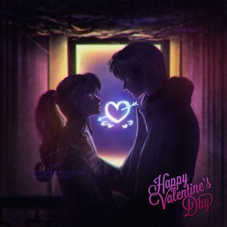 Фото Влюбленные стоят и смотрят друг на друга и между ними сердечко, (Happy Valentines Day / счастливого Дня святого Валентина), by Axsens