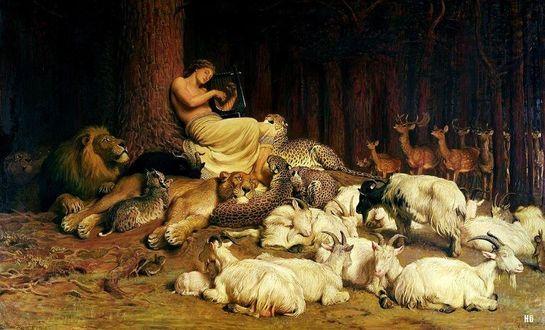 Фото Апполон, сидящий у дерева, в окружении животных, играет на лютне / Apollo Playing the Lute, by Briton Riviere