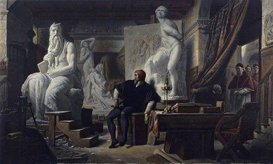 Фото Картина Michelangelo Visited in His Studio by Pope Julius II / Папа Юлий II в мастерской архитектора Микеланджело, by Alexandre Cabanel 1859