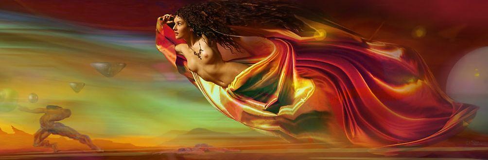 Фото Работа Солнечный ветер, девушка, парящая в небе, by Владимир Федотко