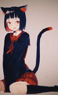 Фото Девушка в образе кошки с ушками и с хвостиком