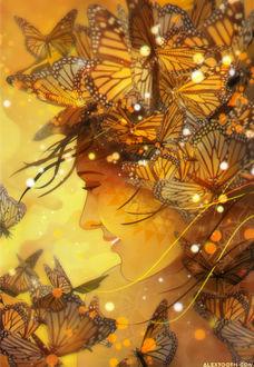 Фото Улыбающаяся девушка в бабочках, by Alex-Tooth
