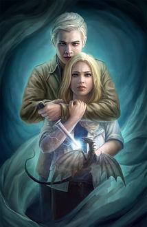 Фото Парень с кинжалом в руке, направленным на дракона, обнимает девушку, by Joemel Requeza