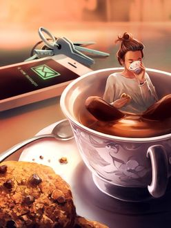 Фото Девушка сидит в чашке с печеньем в руке и пьет кофе, by Aquasixio - Cyril ROLANDO