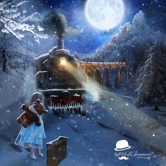 Фото Маленькая девочка с мишкой в руке на зимнем фоне стоит на снегу у железной дороги и смотрит на идущий поезд, рядом с ней стоит чемодан, by Milos Jevremovic