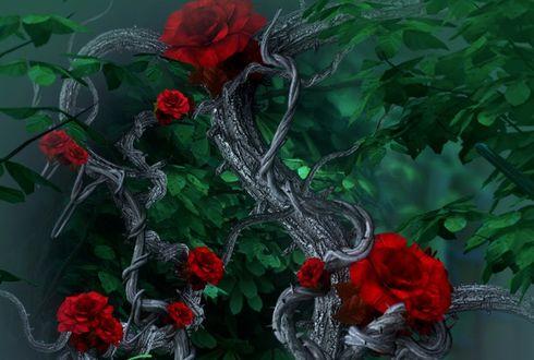 Фото Красные розы на старом стволе, by moonchild-ljilja