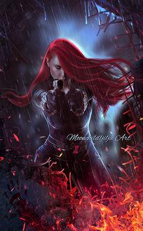 Фото Девушка под дождем с пистолетами в руках, by moonchild-ljilja