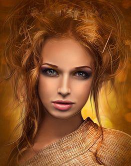 Фото Рыжеволосая симпатичная девушка на размытом фоне с боке, by moonchild-ljilja