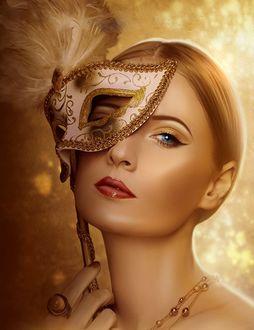 Фото Девушка с маской в руке, by moonchild-ljilja