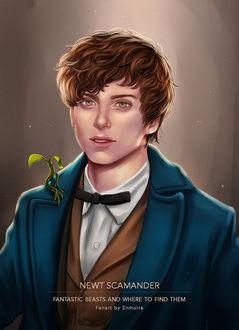 Фото Портрет парня с растением не плече, by enmoire