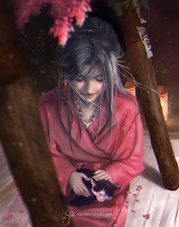 Фото Девушка в кимоно с котенком, by Toshia-san